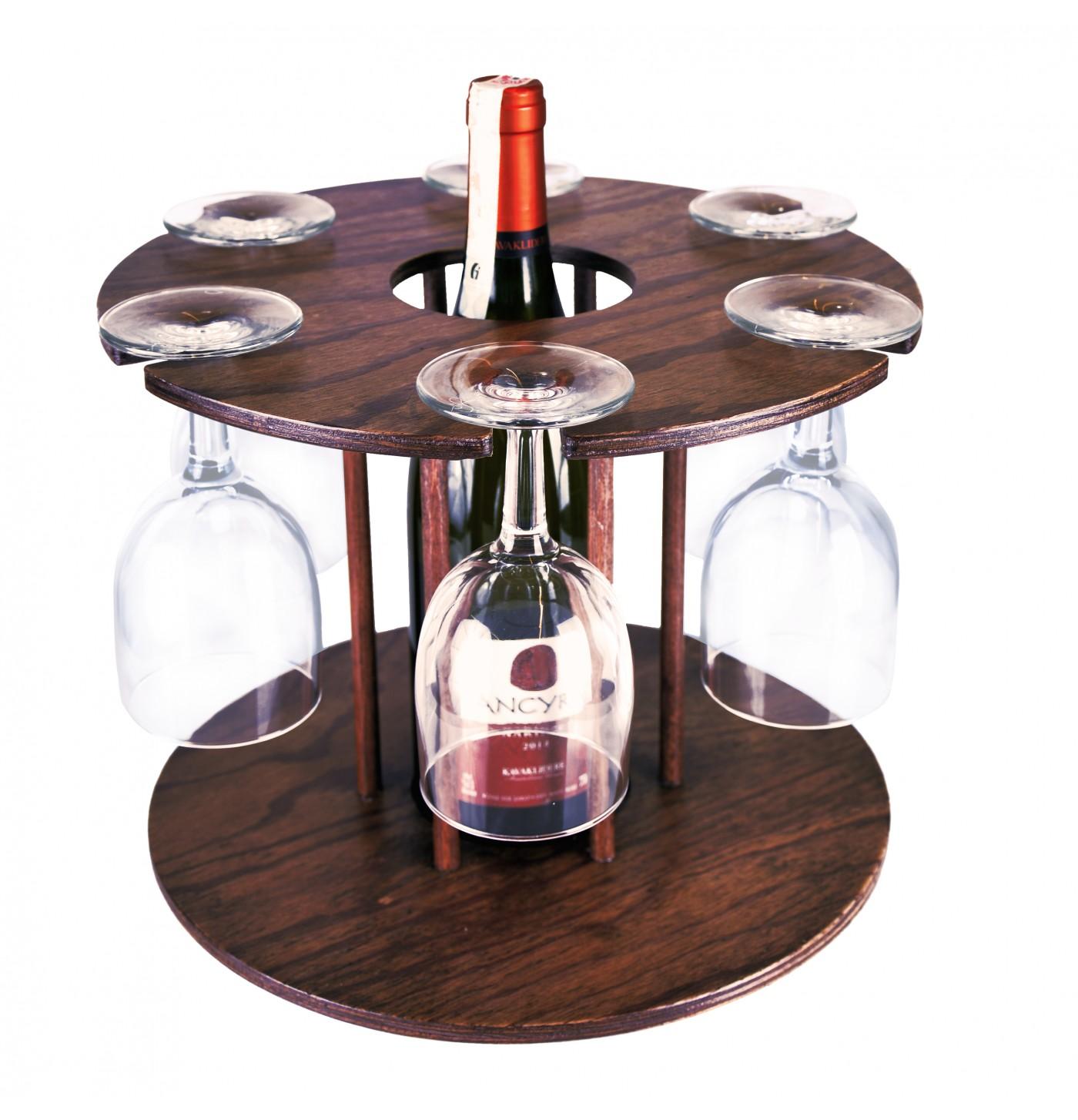 Ahşap Şarap ve Kadeh Standı Kontra
