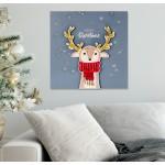 Merry Christmas Geyik Simli 41x41 Katmanlı Mdf Tablo