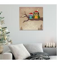Merry Christmas Baykuşlar Simli 41x41 Katmanlı Mdf Tablo