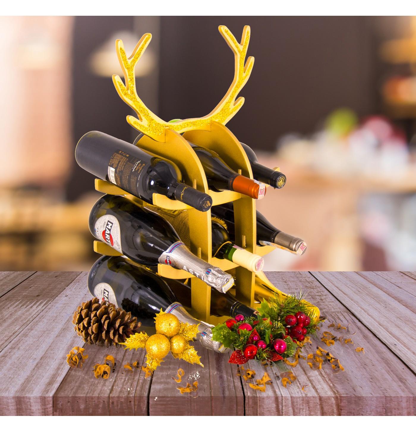 Christmas Gold Simli 9'lu Geyik Şaraplık